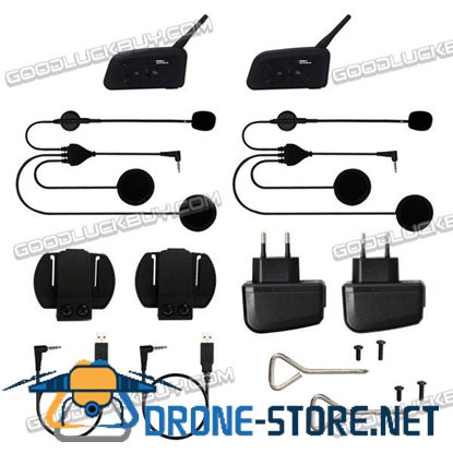 Vnetphone V4 Bluetooth Motorcycle Helmet Interphone w/FM 4 Riders 1200M 2pcs