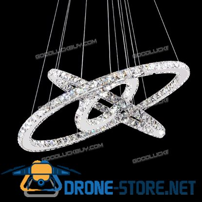 2 Color Remote Controller Dimmable LED Round 3sides Crystal Pendant Lamp 3 Rings