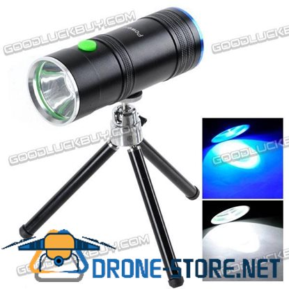 Mini Rechargeable Dual Lens 3W LED White + Blue Light Fish Attractor Flashlight with Tripod