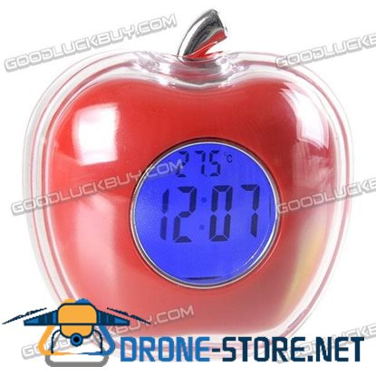 Red Apple Shaped Talking Clock Time Temperature Display