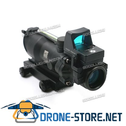 Tactical 4x32 Real Red Fiber Optic Illuminated Rifle Scope w/ RMR Red Dot Black