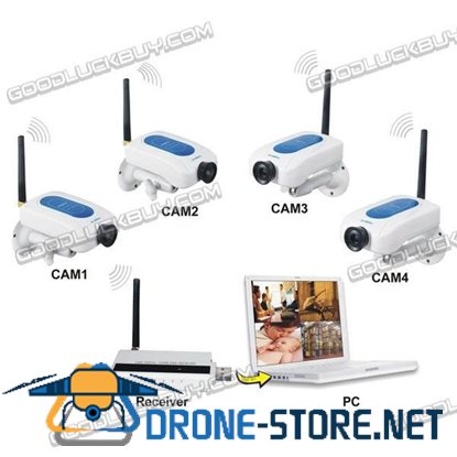 4 x Digital Wireless Cameras CCTV WiFi Security DVR System Kit for Home Store