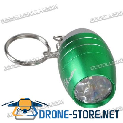 Cute 6 Bright LED Mini Flashlight F006 Ball Shaped Torch with Keychain- Green