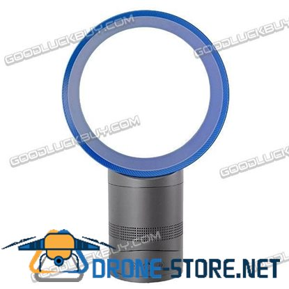 "10"" Hidden Blade Air Amplification Safe Table Fan Blue"
