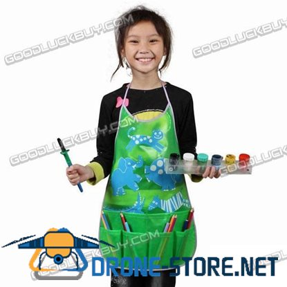 Cartoon Apron Multi Pocket PVC for Child Painting Craft Art