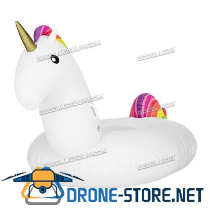 "78"" Rideable Inflatable PVC Unicorn Swimming Pool Party Outdoor Water Toy"