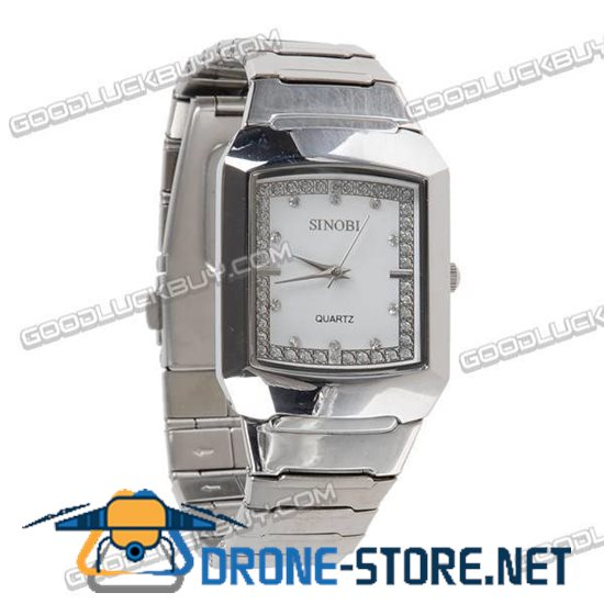 Stainless Steel Quartz Crystal Wrist Watch Men Gift Waterproof White 9205