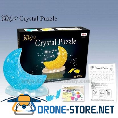 3D Crystal Furnish Moon Jigsaw Puzzle IQ Gadget Yellow/Blue