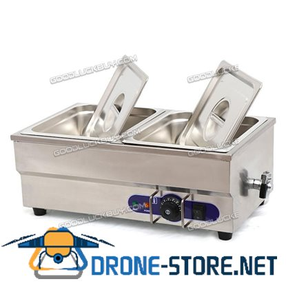 "1500W Food Warmer Restaurant Bain Marie Steam Table 6"" deep 1/2 Size Pans"
