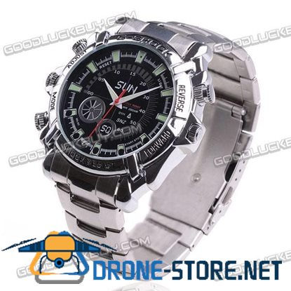 1080P Waterproof Rechargeable Pin-Hole Spy Camcorder Wrist Watch Night Vision 8GB