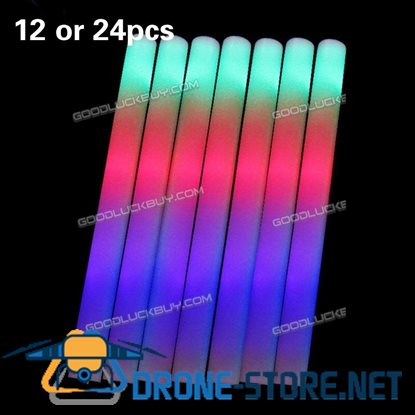 24PCS Light-Up Foam Sticks LED Rally Rave Cheer Tube Soft Glow Baton Wands