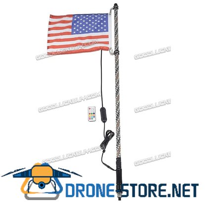 4ft Lighted Spiral LED Whip Antenna w/ Flag & Remote for ATV Polaris RZR UTV 1.2M