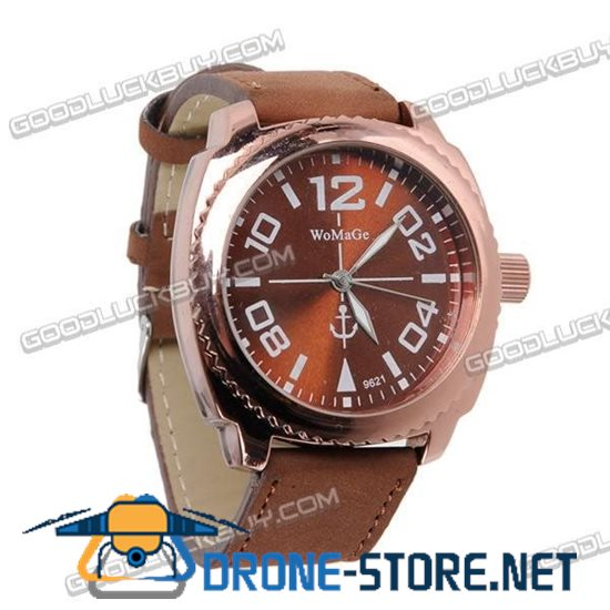Fashional Leather Belt Wrist Watch Round Face (Brown Strap) 9621