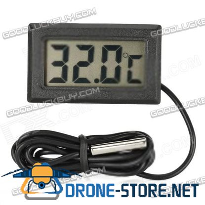 """1.5"""" LCD Digital Indoor / Outdoor Thermometer - Black (2 x LR44)"""