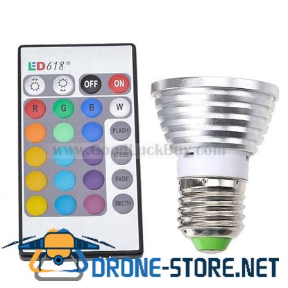 16 Color 3W RGB LED Bulb Light E27 110-120V with Remote Control