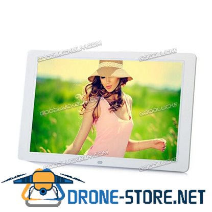 """16"""" HD 1080P LED Digital Photo Picture Frame Movie Player Remote Control White"""
