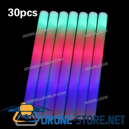 30PCS Light-Up Foam Sticks LED Rally Rave Cheer Tube Soft Glow Baton Wands
