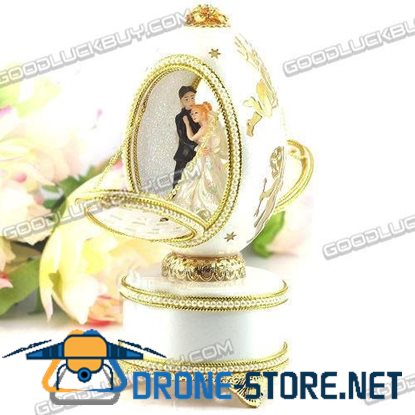 Decorated Real Goose Egg Wedding Bride & Groom Musical Music Box Gift 262-2A