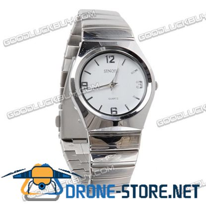 Stainless Steel Quartz Wrist Watch Lady Gift Waterproof White 9202