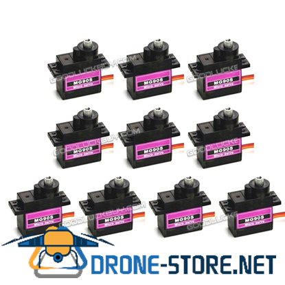 10Pcs MG90S Micro Metal Gear 9g Servo for RC Airplane Helicopter Boat Car