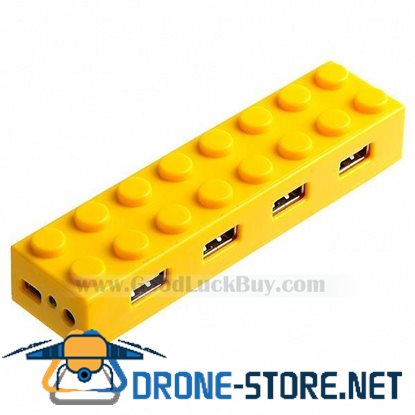 Hi-speed Toy Bricks Style USB 2.0 4-Port Hub Cable Yellow