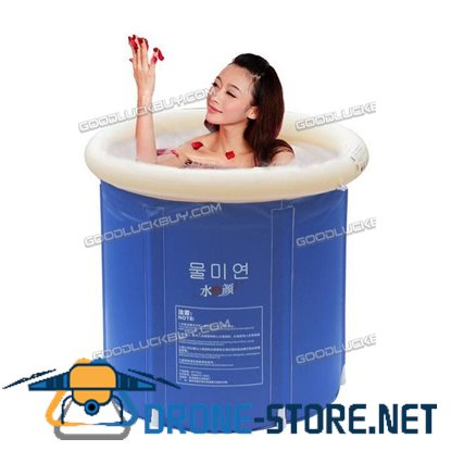 75*75CM Portable Foldable Bathtub PVC Water Tub Spa Massage Bath