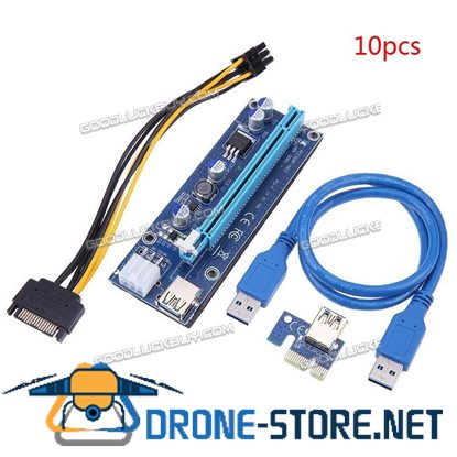 10Pcs PCI-E 1X to 16X USB Riser 009S Adapter Card Extension Cable for BTC Miner Blue
