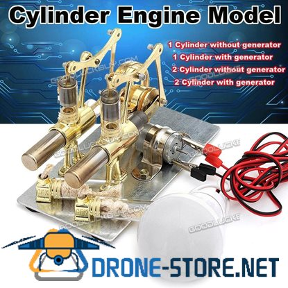 2 Double Cylinder Hot Air Stirling Engine Model Motor Generator Toy