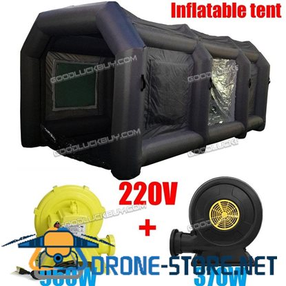 Black Inflatable Spray Booth Custom Car Paint Tent 12*5*4 + 2 Blowers