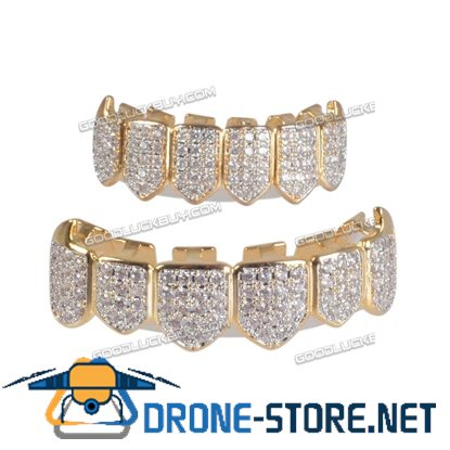 18K Plated Top & Bottom Teeth Grillz Mouth Grills High Quality Gold Silver