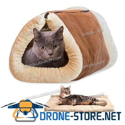 2 in1 Kitty Shack Self Heating Pet Tunnel Bed Mat Cat Dog Portable Hot Cosy Warm