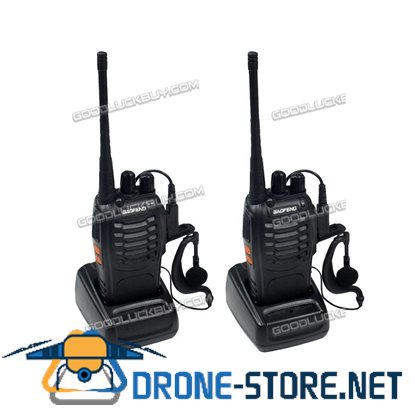 2x Baofeng BF-888S Walkie Talkie Long Range 2 way Radio UHF 400-470MHZ 16CH Earpiece Black