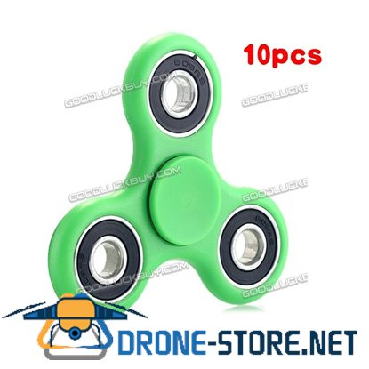 10 PC Tri-Spinner Fidget Toy Ceramic EDC Hand Finger Spinner GREEN