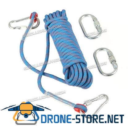 10M 10mm Climbing Rope Outdoor Safty Mountain Rescue Escape Rappelling Auxiliary Cord Blue