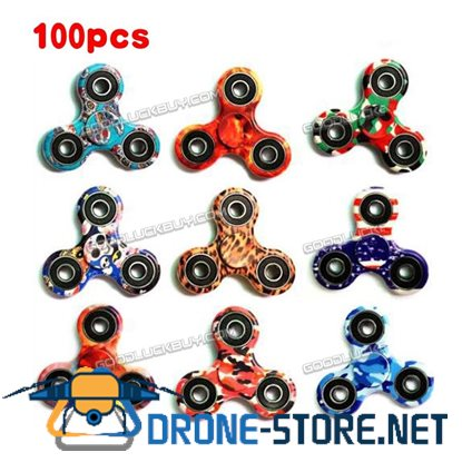 100X Fashion EDC Hand Fidget Tri Spinner Focus Toys Camo/Galaxy/Skull/Fire/Flag