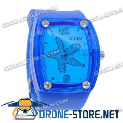 Fashional Silicone Belt Crystal Rectangle Wrist Watch (Navy Blue Strap)