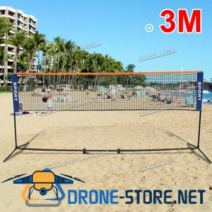 Portable Mini Tennis Badminton Net Volleyball Training Steel Frame Stand 3M