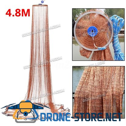 8x16ft 4.8m Fishing Net Bait Easy Throw Hand Casting Nylon Line w/ Sinker