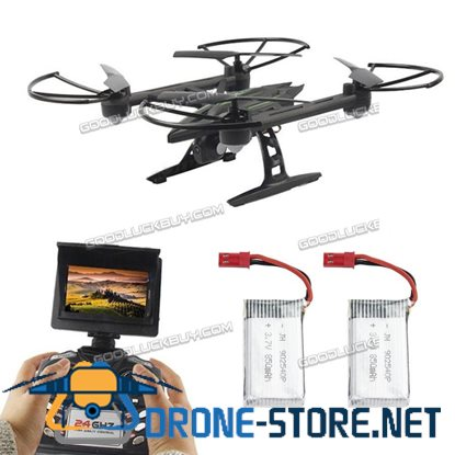 JXD 510G 5.8G 4CH 6-Axis Gyro FPV RC Drone Quadcopter w/ Monitor Camera + 2 Extra Batteries