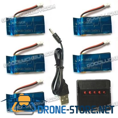 3.7V 850mAh Lithium Battery 5pcs + Charger for Syma X5SW X5C FPV Quadcopter