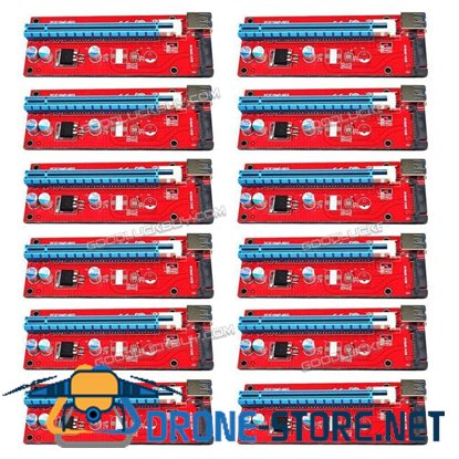 12Pcs USB3.0 PCI-E Express 1x to 16x Extender Riser Card Adapter SATA 15PIN Cable Red