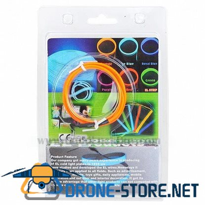 1m EL Wire Orange Neon Cold Light Strip String with 2AA Battery Inverter