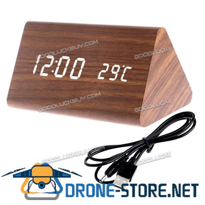 Wooden Voice Control LED Display Alarm Digital Triangular Desk Clock Thermometer Brown