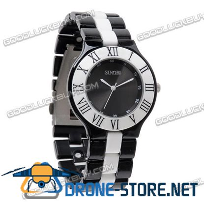 Stainless Steel Quartz Wrist Watch Men Gift Waterproof Black 4055