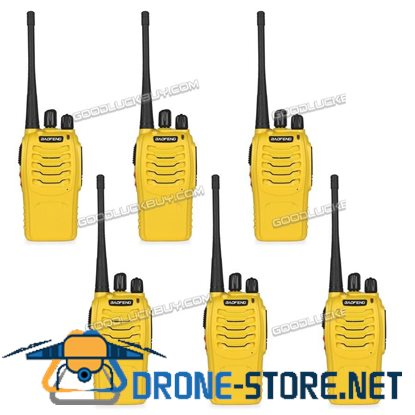 6x Baofeng BF-888S Walkie Talkie Long Range 2 way Radio UHF 400-470MHZ 16CH Earpiece Yellow