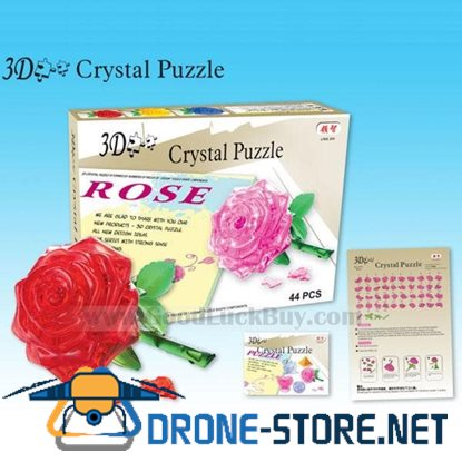 3D Crystal Furnish Rose Jigsaw Puzzle IQ Gadget Game 4color