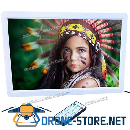 "15"" 1280*800 LED HD Digital Picture Photo Frame Movie MP4 Player Remote Controller White"