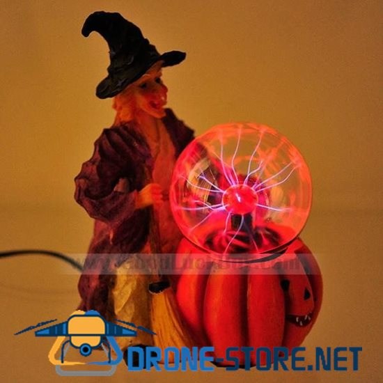 Wizard Wicked Witch Statue Plasma Lightning Glass Ball Sphere Party Light Lamp
