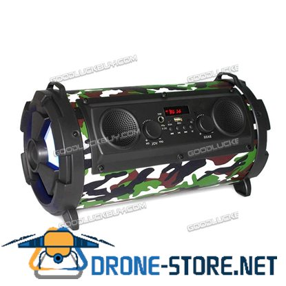 15W LCD Bluetooth Wireless Speaker Super Bass Subwoofer Stereo AUX USB TF FM Camouflage
