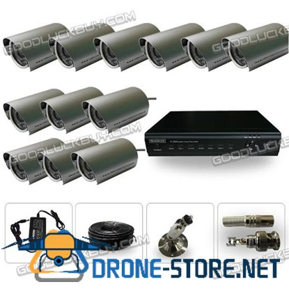 YAB-XWD12 12CH H.264DVR Waterproof Camera 420tvl 6mm Lens Infared Ray CCTV Security System
